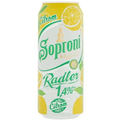 Soproni Radler citromos sörital 1,4% 0,5 l doboz